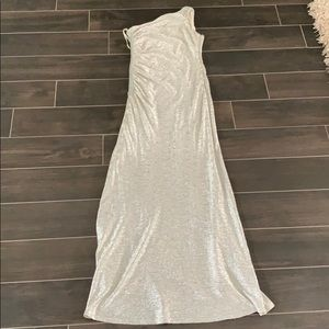 silver one shoulder Cache dress size 2